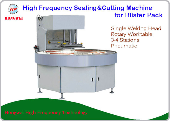 Turntable Construction Plastic Heat Sealing Machine , Blister Packing Machine 27.12 MHz